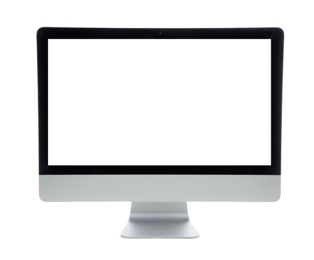 blank screen: New monitor computer display  isolated on a white background Stock Photo