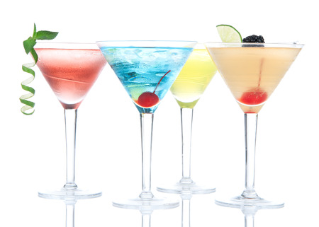 blue hawaiian drink: Popular alcoholic cocktails composition. Many cocktail drinks Blue hawaiian, mai tai, tropical Martini, tequila sunrise, margarita cherry, lime, lemon, straw on a white background Stock Photo