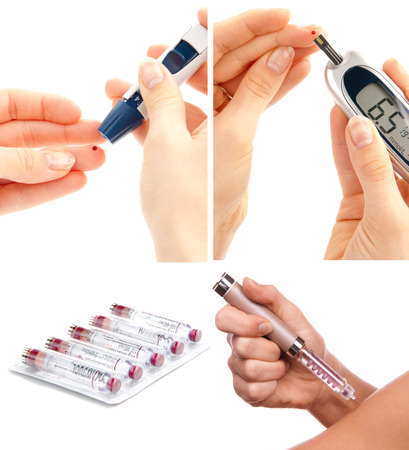 Diabetes diabetic concept collage with insulin syringe shot and glucose sugar measuring level blood test on white background photo