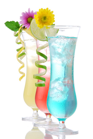 blue hawaiian drink: Cocktails drinks beverages mojito, tropical Martini, tequila sunrise, margarita, champagne and cognac glass, cocktail umbrella, cherry, lime and pineapple on white background