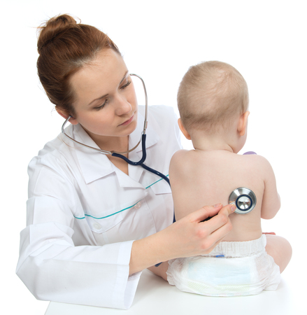 auscultate: Doctor or nurse auscultating child baby patient heart with stethoscope physical therapy closeup composition on a white background