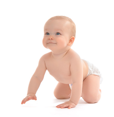 Infant child baby toddler sitting or crawling happy smiling on a white background