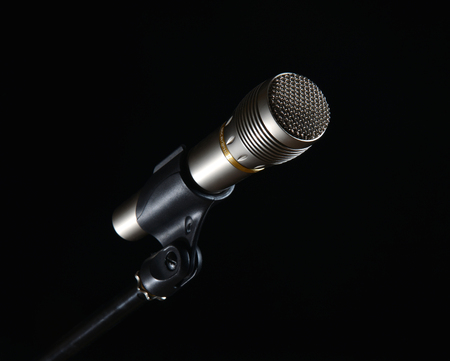 Stage Microphone isolated on black  photo