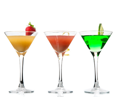 Popular alcoholic cocktails composition. Many cocktail drinks mai tai, tropical Martini, tequila sunrise, margarita lime, lemon  on a white background photo
