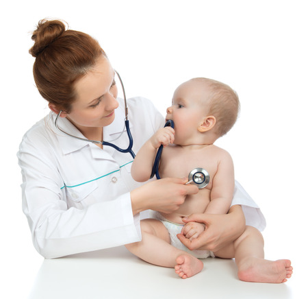 Doctor or nurse auscultating child baby patient heart with stethoscope physical therapy closeup composition on a white background
