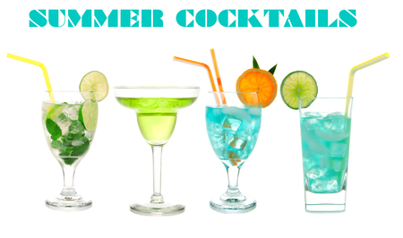 alcoholic drink: Green cocktails Blue Hawaiian Cosmopolitan Mojito tropical cocktail drinks with alcohol vodka in martini glasses isolated on a white background