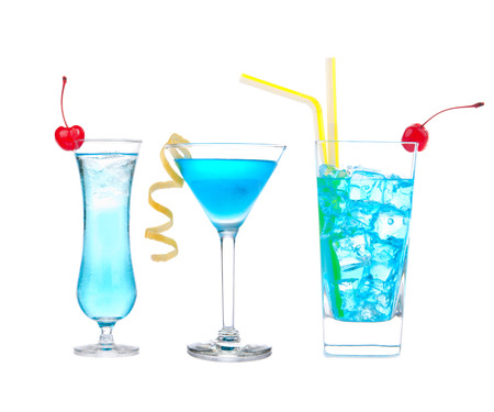 mocktail: Three cocktails with alcohol margarita cocktail martini blue hawaian Iced tea with maraschino cherry isolated on a white background