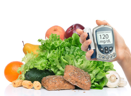 Diabetes diabetic concept. Measuring glucose level blood test on organic food fruits and vegetables background