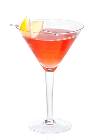 blue hawaiian drink: red alcohol cosmopolitan cocktail decorated with citrus lemon in martini cocktails glass isolated on a white background Stock Photo