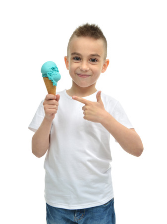 Happy Baby boy holding blue ice cream dondurma in waffles cone isolated on a white background