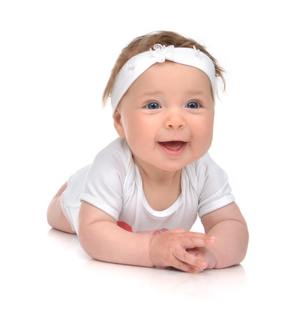 child girl nude: Infant child baby girl in body lying happy smiling laughing isolated on a white background Stock Photo