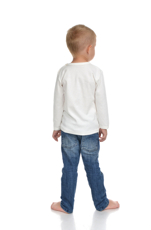 small butt: Rear view of caucasian full body american baby boy kid in sweater and jeans isolated on white background