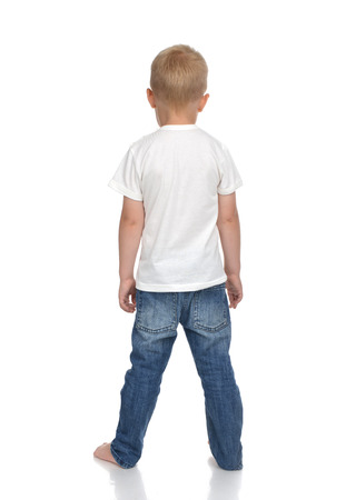 head and  back: Rear view of caucasian full body american baby boy kid in tshirt and jeans standing isolated on a white background Stock Photo