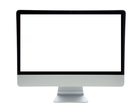 New monitor computer retina display with blank screen isolated on a white background