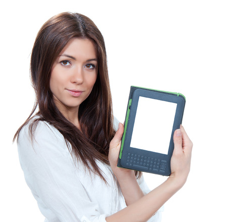 electronic tablet: Woman hold electronic book tablet reading device isolated over white background Stock Photo