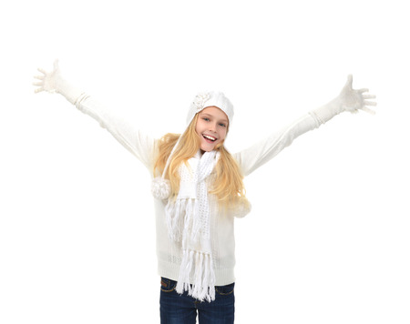 Young pretty girl hands up raised arms screaming yelling smiling isolated on a white background
