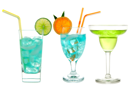 sweet vermouth: Three green cocktails Blue Hawaiian Cosmopolitan Mojito tropical cocktail drinks with alcohol vodka in martini glasses isolated on a white background