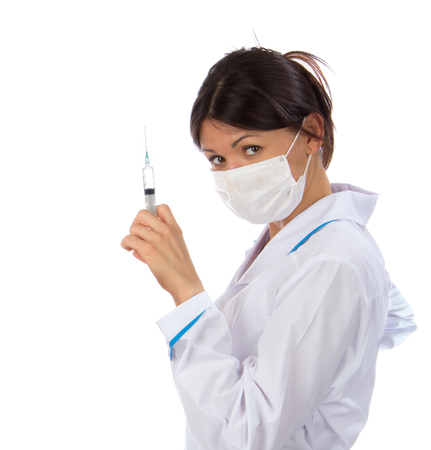 needle syringe infection: Doctor or nurse with syringe needle for flu injection vaccination concept against white background. Stock Photo