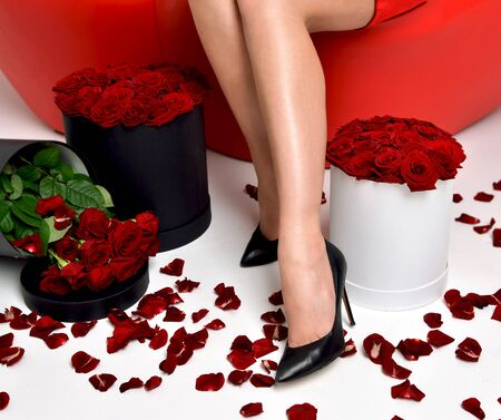 women legs: Beautiful luxury fashionable woman legs in high hills  with roses bouquet and petals