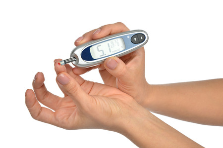 glucometer: Diabetes composition glucometer in hand for measuring glucose level blood test isolated on a white background