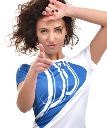 women smiling: Young beautiful woman pointing finger on you looking and cheerful smiling isolated on a white background