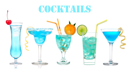 blue hawaiian drink: Set of alcohol cocktails Blue Hawaiian, Martini, Cosmopolitan, Mojito tropical cocktail drinks with alcohol vodka isolated on a white background