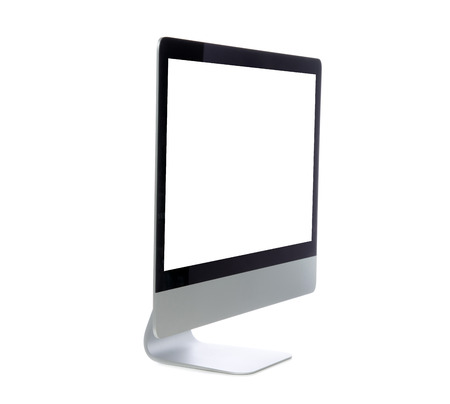 side keys: New monitor computer display side view with blank screen isolated on a white background