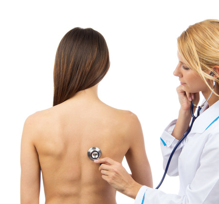 auscultate: Doctor nurse auscultating patient problem spine with medical stethoscope physical therapy isolated on a white background