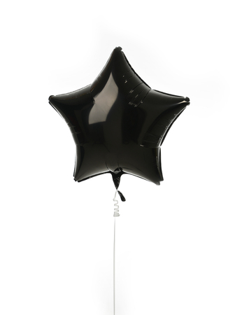 black metallic background: Single black big star metallic balloon object for birthday isolated on a white background