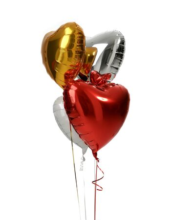 Bunch of big white red silver and gold heart  balloons objectsfor birthday party isolated on a white background