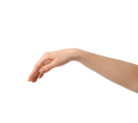 Woman hand pointing touching or pressing palm isolated on white backgroung