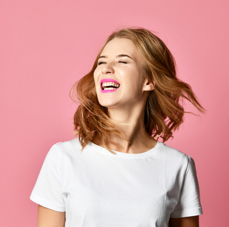 Emotional angry woman screaming shouting yelling closeup portrait on pink background. Female emotions facial expression concept Stock fotó
