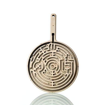 Wooden education labyrinth toy game for children memory advance learning  isolated on white background 免版税图像