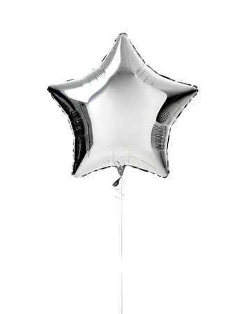 Metallic big silver star balloon object for birthday party or valentines day isolated on a white background