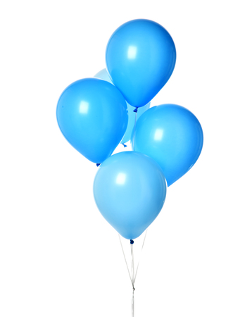 Bunch of blue latex blue round balloons composition for birthday or valentines day party on white background