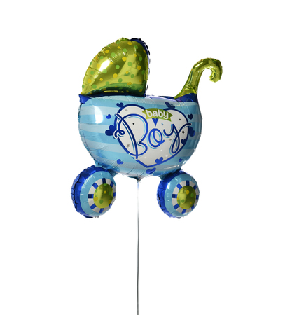 Blue baby carriage metallic balloon object for  new born child birthday party or celebration isolated on a white background