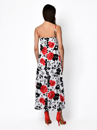 Young beautiful woman posing in new casual red flower pattern fashion dress back side rear view on a white background