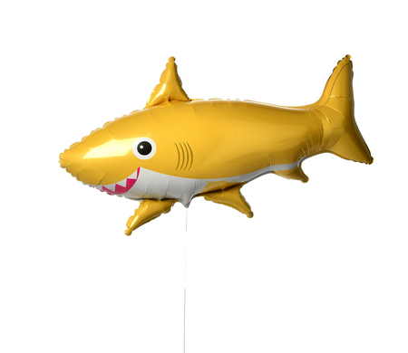Yellow shark fish metallic balloon isolated on a white background Stock fotó