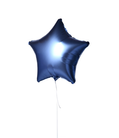 Single light blue big star metallic balloon object for birthday isolated on white background