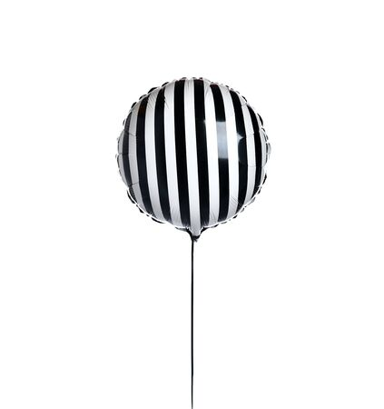 Single black and white stripes candy balloon object for birthday party isolated on a white background