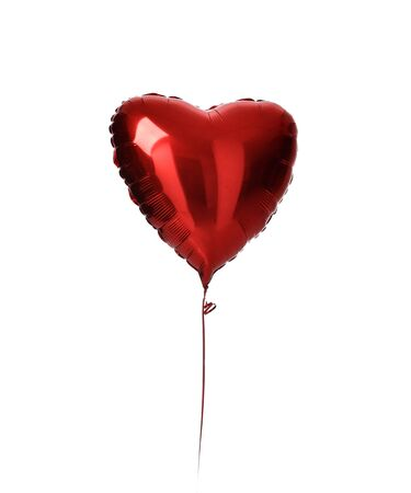 Single red heart balloon object for birthday party or valentines day isolated on a white background Stock fotó