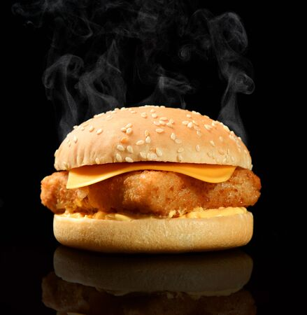 Tasty burger with fish fillet and cheese hot with steam smoke on black background