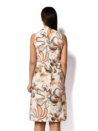 Woman with straight brunette hair is posing back to us in new casual fashion sheath dress with large leaves abstract print over a white background