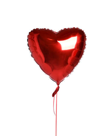 Single red heart balloon ballon object for birthday party or valentines day isolated on a white background
