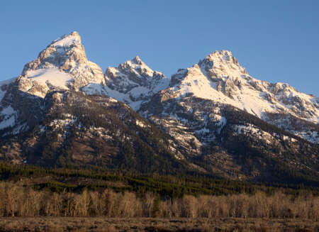teton: Grand Teton, Mt. Owen, Teewinot Mountain Stock Photo