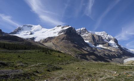 andromeda: Mount Athabasca and Mount Andromeda Stock Photo