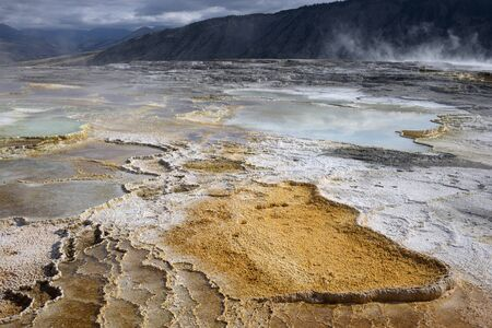 hydrothermal: Mammoth Hot Springs Stock Photo