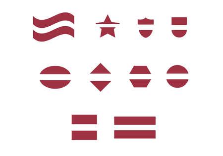 Latvia flag set vector illustration