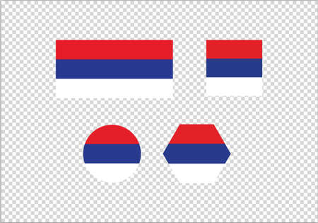 Serbia flag set vector illustration