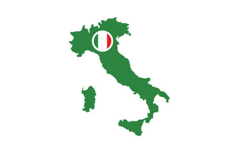 Italy map flag vector illustration